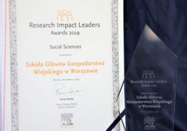 SGGW zdobywcą nagrody Elsevier Research Impact Leaders Award 2019